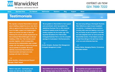 Screenshot of Testimonials Page warwicknet.com - Testimonials | WarwickNet - captured Oct. 7, 2014