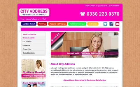 Screenshot of About Page cityaddressuk.com - About City Address Mailboxes and More | City Address - captured Aug. 1, 2017