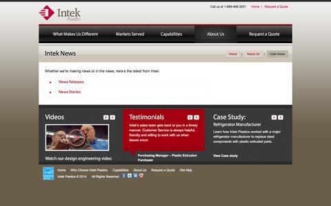 Screenshot of Press Page intekplastics.com - Intek News - News Releases and Newsletters - Intek Plastics - captured Jan. 9, 2016