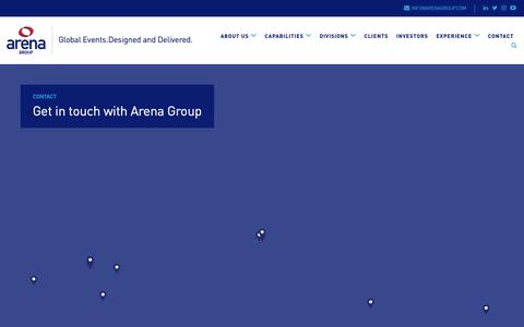 Screenshot of Contact Page arenagroup.com - Contact Arena Group at one of our global locations - captured Oct. 4, 2018