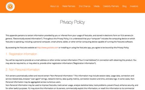 Screenshot of Privacy Page yoolotto.com - YooLotto - captured Oct. 28, 2014