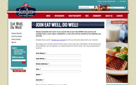 Screenshot of Signup Page silverdiner.com - Join Eat Well, Do Well! | Silver Diner - captured Oct. 30, 2014