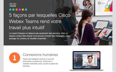 Screenshot of Landing Page cisco.com - Voici 5façons par lesquelles Cisco WebEx Teams rend votre travail plus intuitif - captured Sept. 19, 2018