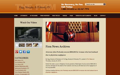 Screenshot of Press Page ocmilaw.com - Firm News Archives | Pittsburgh Wrongful Death Law Blog - captured Oct. 26, 2014