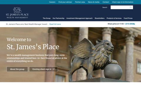 Screenshot of Home Page sjp.co.uk - St. James's Place | Corporate website - captured Nov. 18, 2018
