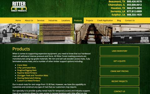 Screenshot of Products Page ritterforest.com - Past Projects: Hardwood Crane Mats & Laminated Mats from Ritter Forest Products - captured Dec. 22, 2016