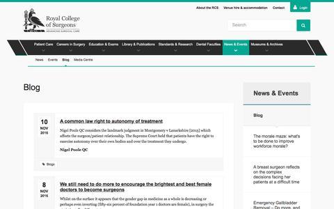 Screenshot of Blog rcseng.ac.uk - Blog — Royal College of Surgeons - captured Dec. 1, 2016