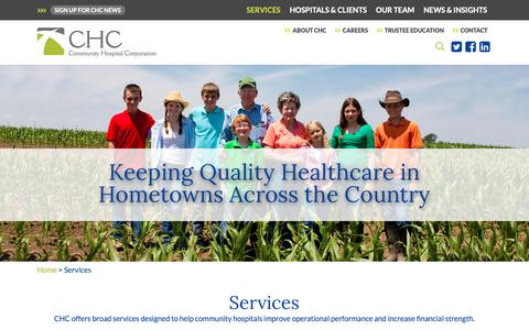 Screenshot of Services Page communityhospitalcorp.com - Services - Community Hospital Corporation - captured Sept. 28, 2018