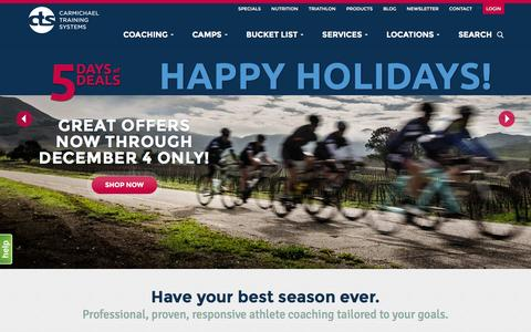 Screenshot of Home Page trainright.com - Carmichael Training Systems Coaching and Camps - captured Dec. 2, 2015