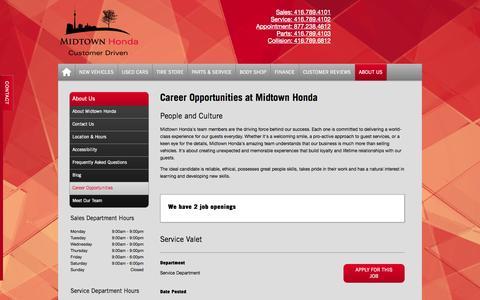 Screenshot of Jobs Page midtownhonda.com - Midtown Honda   Careers - Honda Dealer in Toronto - 5 Star Rated - captured Oct. 27, 2014