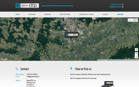 Screenshot of Contact Page global-dtp.com - Global DTP - Premium Desktop Publishing & Multimedia Engineering - captured Nov. 15, 2016