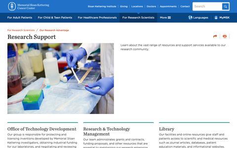 Screenshot of Support Page mskcc.org - Research Support | Memorial Sloan Kettering Cancer Center - captured Nov. 17, 2018