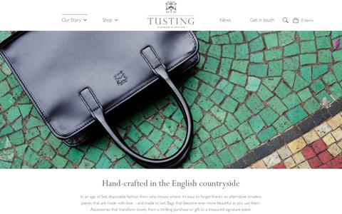 Screenshot of Home Page tusting.co.uk - TUSTING Leathergoods - Leather Bags and Handbags - Made in Britain - captured Nov. 16, 2018