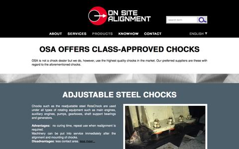 Screenshot of Products Page onsitealignment.com - CHOCKS (Products)   On site Alignment: Call Measure Detect Solve - captured Jan. 11, 2016