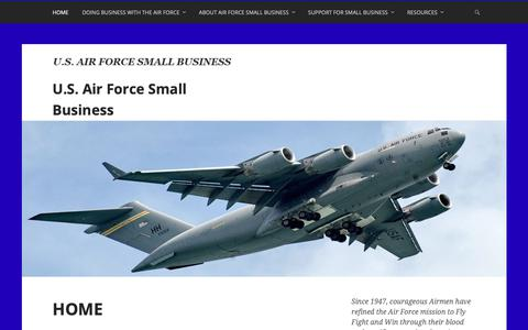 Screenshot of Home Page airforcesmallbiz.org - U.S. Air Force Small Business - captured Dec. 18, 2018