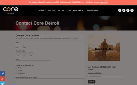 Screenshot of Contact Page coredetroit.com - Contact Core Detroit | Core Detroit - captured Sept. 19, 2014