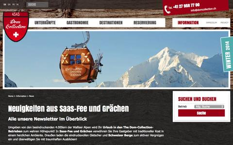 Screenshot of Press Page domcollection.ch - News aus Saas-Fee und Grächen - captured Sept. 25, 2014