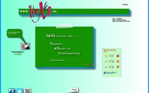 Screenshot of Home Page hexs.nl - heXs - begeleiding (en een beetje eXtra) bij huiswerk, examen en studie of bijles natuurkunde, scheikunde of wiskunde. - captured Sept. 30, 2014