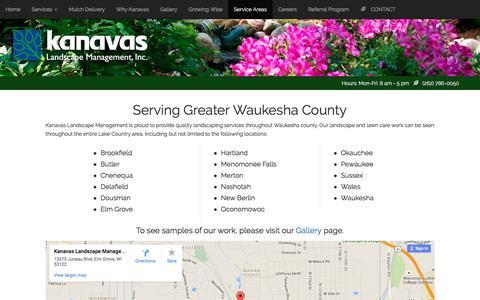 Screenshot of Locations Page kanavaslandscape.com - Kanavas Landscape Management - captured April 23, 2016