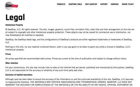 Screenshot of Terms Page sawstop.com - Legal | SawStop - captured Nov. 6, 2018