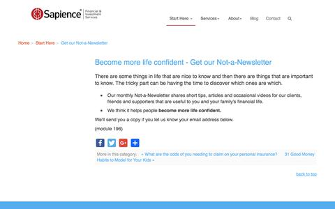 Screenshot of Press Page sapience.com.au - Become more life confident - Get our Not-a-Newsletter - Sapience Financial and Investment Services - captured Oct. 5, 2017