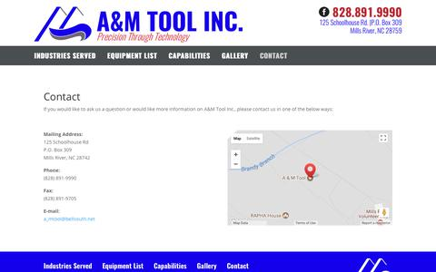 Screenshot of Contact Page amtoolusa.com - Contact | A&M Tool Inc - captured Aug. 29, 2017