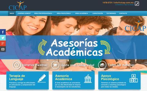 Screenshot of Home Page cicap.com.mx - CICAP Apoyo Psicoeducativo | Tenemos tu solución. - captured Dec. 6, 2015