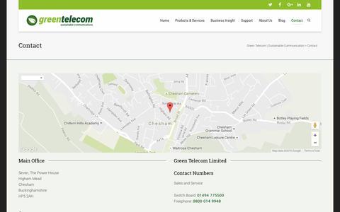 Screenshot of Contact Page greentelecom.co.uk - Contact | Green Telecom | Sustainable Communication - captured Nov. 13, 2016