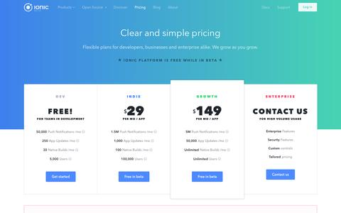 Screenshot of Pricing Page ionic.io - Pricing - Ionic Platform - captured March 9, 2016