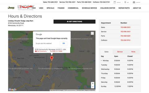 Screenshot of Maps & Directions Page Hours Page lindsaychryslerdodgejeepram.com - Lindsay Chrysler Dodge Jeep Ram Hours of Operation | Manassas Chrysler Dealer Directions - captured Sept. 25, 2018