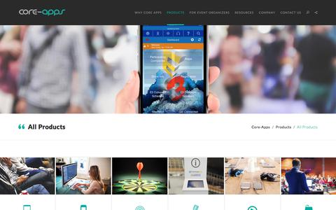 Screenshot of Products Page core-apps.com - Core-apps: Mobile Apps for Events, Conferences, Trade Shows - captured July 30, 2017
