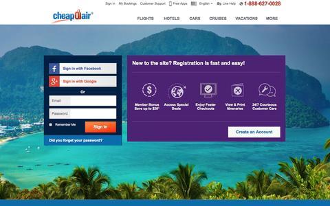 Screenshot of Login Page cheapoair.com - My Account-UserProfile - captured Oct. 28, 2014