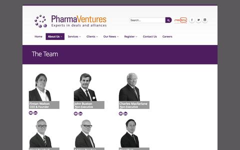 Screenshot of Team Page pharmaventures.com - The Team | www.pharmaventures.com - captured Sept. 29, 2014