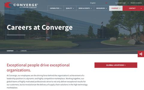 Screenshot of Jobs Page converge.com - Careers at Converge | Converge - captured July 21, 2018