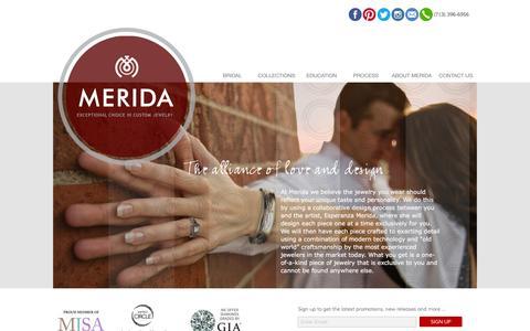 Screenshot of Home Page meridafinecustomjewelry.com - Brilliance in Custom Jewelry - captured Jan. 9, 2016