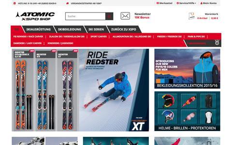 Screenshot of Home Page atomic-xspo.de - Atomic Ski - Im Online Shop günstig kaufen - captured April 19, 2016