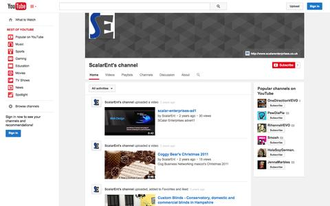 Screenshot of YouTube Page youtube.com - ScalarEnt's channel  - YouTube - captured Oct. 23, 2014