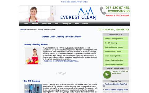 Screenshot of Services Page everestclean.com - Everest Clean Cleaning Services London - Domestic Cleaning Company London - Cleaning Agency -   Home Cleaners - captured Sept. 30, 2014