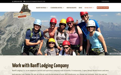 Screenshot of Jobs Page bestofbanff.com - Banff Career and Job Postings for Banff Lodging Company - captured Oct. 5, 2018