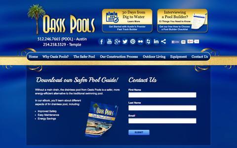Screenshot of Press Page oasispools.net - eBook Safer Pool Guide - Oasis - captured Nov. 17, 2015