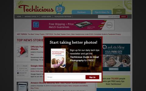 Screenshot of Blog techlicious.com - Blog - Techlicious - captured Nov. 23, 2015