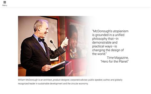 Screenshot of Home Page mcdonough.com - William McDonough Waging Peace Through Commerce - captured Oct. 17, 2017
