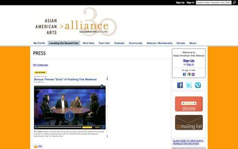Screenshot of Press Page aaartsalliance.org - PRESS - Asian American Arts Alliance - captured Oct. 4, 2014