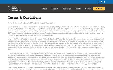 Screenshot of Terms Page spinerf.org - Spinal Research Foundation   –  Terms & Conditions - captured Sept. 22, 2018