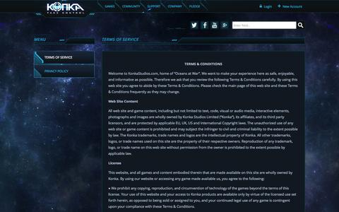 Screenshot of Terms Page konkastudios.com - Terms of Service | Konka - Take Control - captured Oct. 29, 2014