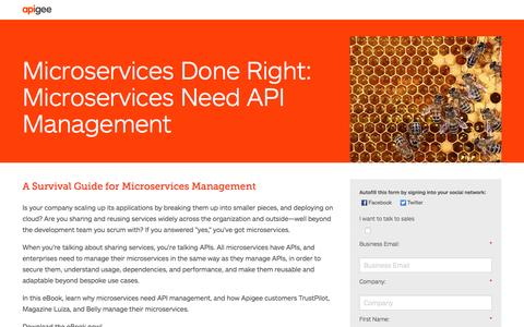 Screenshot of Landing Page apigee.com - Microservices Done Right - captured March 20, 2017