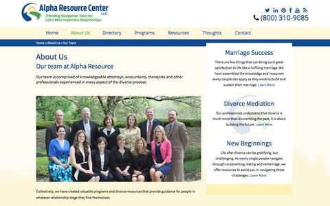 Screenshot of Team Page alpharesourcecenter.com - Our Divorce Resources Team - captured July 29, 2018