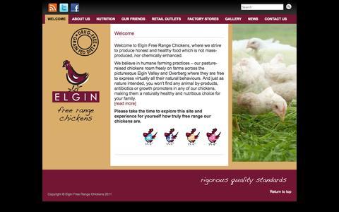 Screenshot of Home Page freerangechickens.co.za - Elgin Free Range Chickens » - captured Oct. 2, 2014