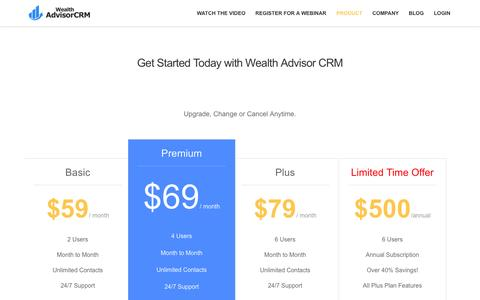 Screenshot of Pricing Page wealthadvisorcrm.com - Pricing -  • Built by Advisors for Advisors. - captured Sept. 26, 2014