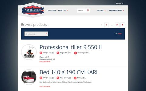 Screenshot of Products Page manufacturo.com - Products | Manufacturo - captured Sept. 30, 2014